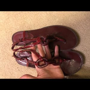 Burberry Sandals size 6 Red chain - leather
